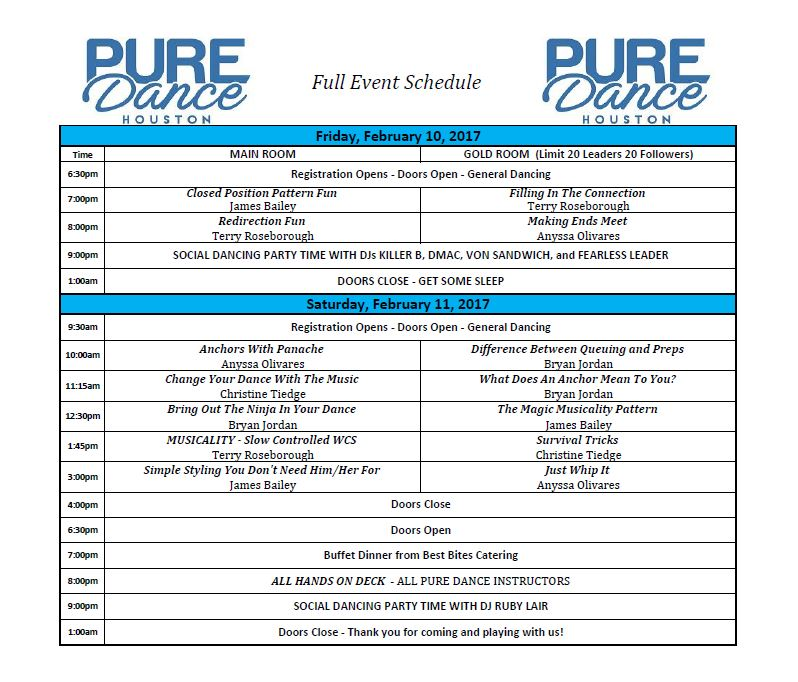 PURE DANCE HOUSTON 2017 SCHEDULE
